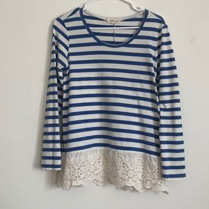 Lace & Striped Long Sleeve Top